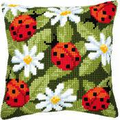 Ladybirds & Daisies Chunky Cross Stitch Cushion Panel Kit