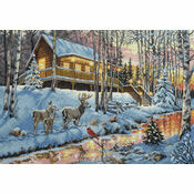 Winter Cabin Cross Stitch Kit