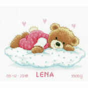 Snoozing Teddy Bear Birth Sampler Cross Stitch Kit