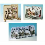 Set Of 3 De-Luxe 3D Christmas Card Cross Stitch Kits