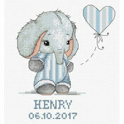 Baby Boy Elephant Birth Sampler Cross Stitch Kit