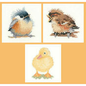 Little Friends Set Of 3 Cross Stitch Kits - Chickadee, Duckling & Sparrow