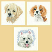 Little Friends Set Of 3 Cross Stitch Kits - Labrador Puppy, Spaniel Puppy, Westie Puppy