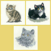 Little Friends Set Of 3 Cross Stitch Kits - Black & White Kitten, Tabby Kitten, British Blue