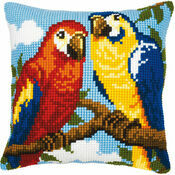 Parrots Chunky Cross Stitch Cushion Panel Kit