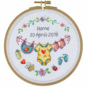 Baby Motif Birth Sampler Cross Stitch Hoop Kit
