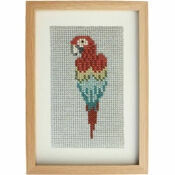 Red Macaw Beadwork Embroidery Card Kit