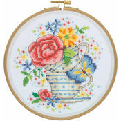 Vintage Tea Cups Cross Stitch Hoop Kit
