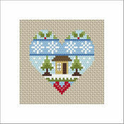 Festive Heart Home Cross Stitch Christmas Card Kit