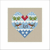 Festive Heart Robins Cross Stitch Christmas Card Kit