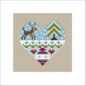 Festive Heart Rudolph Cross Stitch Christmas Card Kit