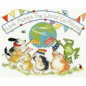 Love Makes The World Go Round Cross Stitch Kit