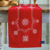 White Christmas Stars Embroidery Table Runner Kit