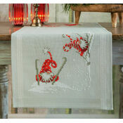 Christmas Elves Skiing Embroidery Table Runner Kit