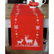 Christmas Reindeer On Red Embroidery Table Runner Kit
