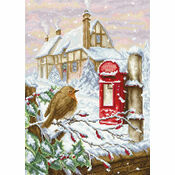 Red Mail Box Robin Cross Stitch Kit