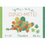 Dino-Mite Birth Record Cross Stitch Kit