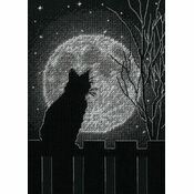 Black Moon Cat Cross Stitch Kit