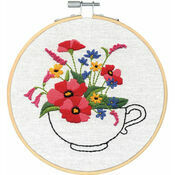 Cup Of Flowers Embroidery Hoop Kit