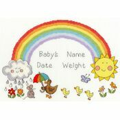 Rainbow Baby Cross Stitch Birth Sampler Kit