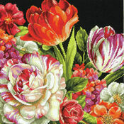 Bouquet On Black Tapestry Kit