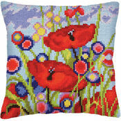 Red Poppies 1 Chunky Cross Stitch Cushion Panel Kit