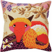 Fox And Grape Chunky Cross Stitch Cushion Panel Kit