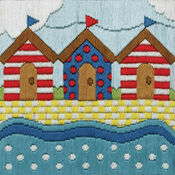Colourful Beach Huts Long Stitch Kit