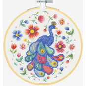 Peacock In Bloom Cross Stitch Hoop Kit