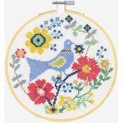 A Bird In Flowers Cross Stitch Hoop Kit