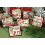 Christmas Sayings Cross Stitch Ornaments Kit (Set Of 6)