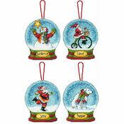 Snow Globe Cross Stitch Ornaments Kit (Set of 4)