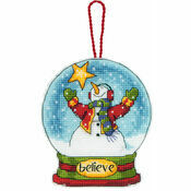 Believe Snow Globe Cross Stitch Ornament Kit