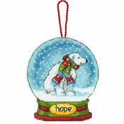 Hope Snow Globe Cross Stitch Ornament Kit