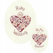 Ruby Wedding Aniversary or Valentine Cross Stitch Card Kit