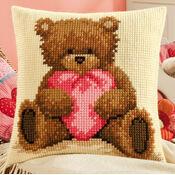 Cushion Panel Cross Stitch Kit - Popcorn with Heart