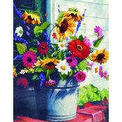 Bucket of Flowers Crewel Kit