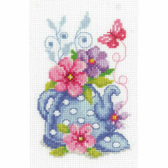 Blue Tea Pot & Flowers Cross Stitch Kit
