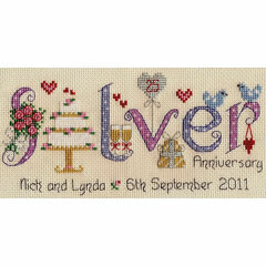 Silver Wedding Anniversary Word Sampler Cross Stitch Kit