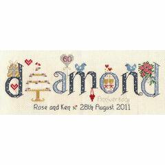 Diamond Wedding Anniversary Word Cross Stitch Sampler Kit