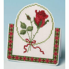 Red Rose Card 3D Cross Stitch Kit