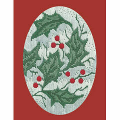 Holly Leaves Long Stitch Christmas Card Kit