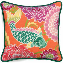 Koi with Flowers Tapestry Cushion Panel Kit