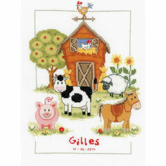 At The Farm Birth Sampler Cross Stitch Kit
