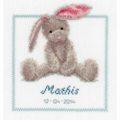 Cute Bunny Birth Sampler Cross Stitch Kit