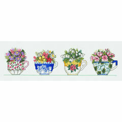 Row Of Tea Cups Cross Stitch Kit