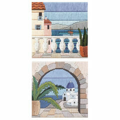 Set Of 2 Mediteranean Scene Long Stitch Kits