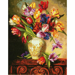 Parrot Tulips Cross Stitch Kit