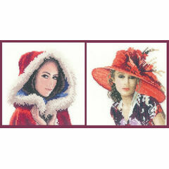 Set Of 2 Elegance Miniature Portrait Cross Stitch Kits - Scarlett & Victoria