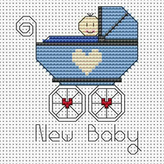 New Baby Boy Cross Stitch Card Kit